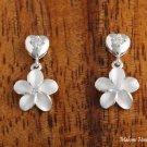 Hawaiian Silver Jewelry Heart CZ+10mm Plumeria Earrings SE29501