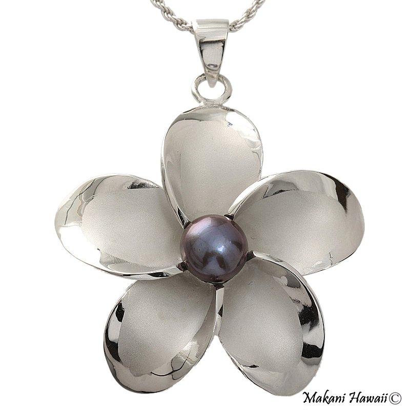 Hawaiian Silver Plumeria Dark Blue Pearl Silver Pendant Necklace 22mm PP10104