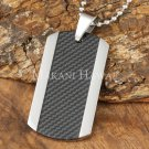 Carbon Fiber Stainless Steel Dog Tag Pendant Center Inlaid SLP7001