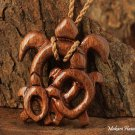 Koa Wood Baby Mom Honu(Hawaiian Turtle) Necklace KOA1110