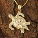 14K Yellow Gold Hawaiian Turtle Pendant Necklace GP3156