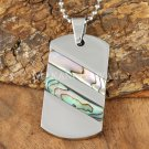Stainless Steel Abalone Dog Tag Pendant Two Row Diagonal SLP7303