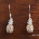 SE26907 Solid Sterling Silver Pineapple Hook Earring Pink Gold Two Tone