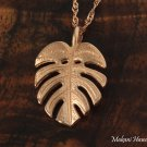 GP3171 14k Pink Gold Monstera Leaf Pendant (Chain Sold Separately)