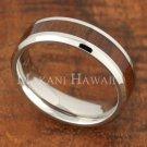 6mm Koa Wood Stainless Steel Wedding Ring Flat Beveled Edge SLR6112