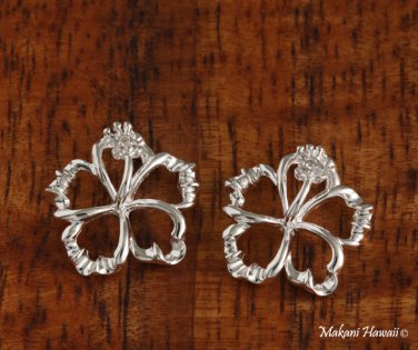 18mm Floating Hibiscus Hawaiian Silver Jewelry Earring SE53341