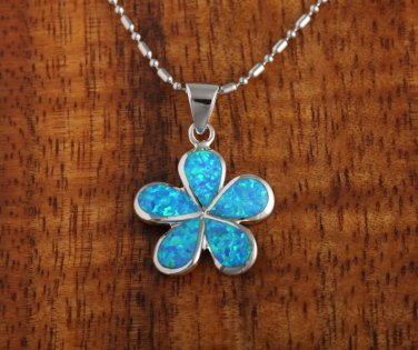 SOP1006 18mm Opal Plumeria Pendant (Chain Sold Separately)