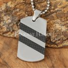 Carbon Fiber Stainless Steel Dog Tag Pendant Two Row Diagonal SLP7003