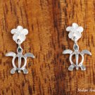 SE22101 6mm Plumeria-Honu Earrings White