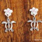 SE22102 6mm Plumeria-Honu Earrings Pink