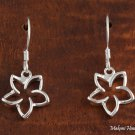 SE27801 Hawaiian Jewelry Solid Silver 12mm Floating Plumeria CZ Hook Earring