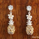 SE26805 Hawaiian Jewelry CZ+6mm Plumeria +Pineapple Earrings Two Tone YG