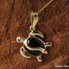 GP3101 Black Coral Inlaid 14K Solid Yellow Gold Honu(Hawaiian Turtle)Pendant