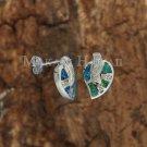 SOE103 Solid Silver 5 Opal with CZ Leaves Earrings