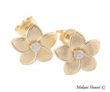 14K Yellow Gold Plumeria Hawaiian Earring 10mm GE2149