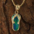 GP3143 Yellow Gold Opal Inlaid Slipper(Flip Flop) Pendant(Chain Sold Separately)