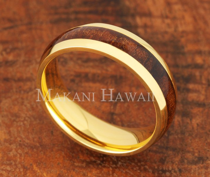 6mm Koa Wood Stainless Steel Wedding Ring Oval Yellow Gold SLR6116