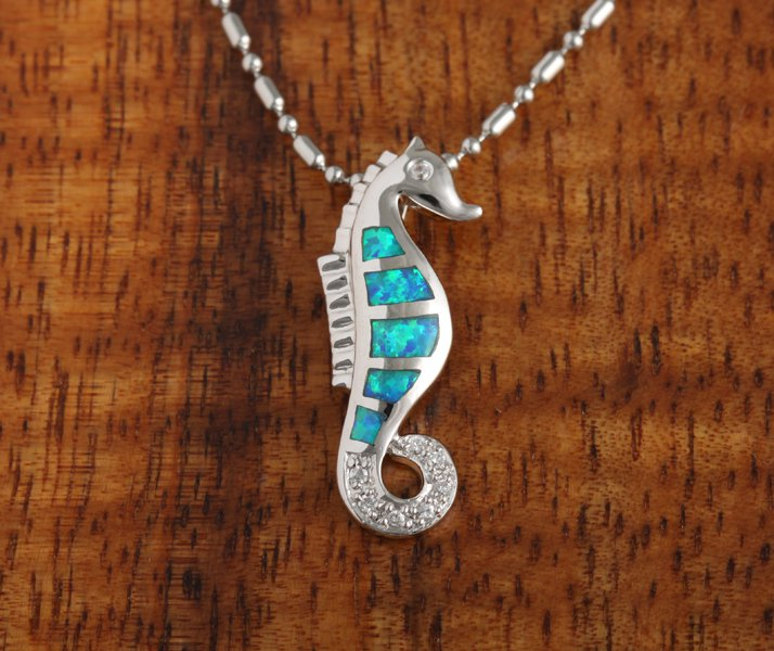 SOP1026 Sea life Opal Sea Horse Pendant Necklace with CZ Inlaid(Pendant Only)