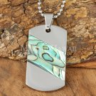 Abalone Shell Stainless Steel Dog Tag Pendant Diagonal SLP7302