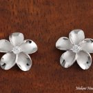 SE53258 18mm Plumeria with Clear Cubic Zirconia Rhodium Earring