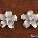 SE53259 18mm Plumeria with Clear Cubic Zirconia Rhodium Earring