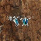 SOE127 Hawaiian Turtle Honu Opal Post Solid Silver Earrings