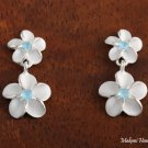 SE18003 8 + 10mm Plumeria CZ Earrings Blue