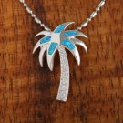 SOP1021 5 Opal CZ Palm Tree Pendant (Chain Sold Separately)