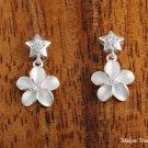 SE29601 Solid Sterling Silver Star CZ + 10mm Hawaiian Plumeria Earrings