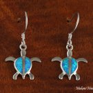 SOE129 Solid Sterling Silver Opal Turtle Honu Hawaiian Hook Earrings