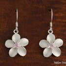 SE12402 18mm Plumeria CZ Hook Earrings Pink