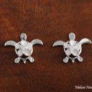 SE23201 6mm Plumeria-Turtle Earrings One Tone