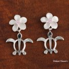 SE22402 12mm Plumeria-Honu(L) Earrings Pink