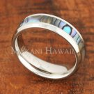 6mm Abalone Shell Ring Stainless Steel Wedding Flat Beveled SLR6302