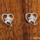 SE29007 6mm Hawaiian Plumeria in Heart Sterling Silver Earrings shiny