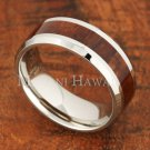 8mm Koa Wood Stainless Steel Wedding Ring Flat Beveled Edge SLR6111