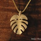 GP3167 Monstera Leaf Pendant 14k Yellow Gold