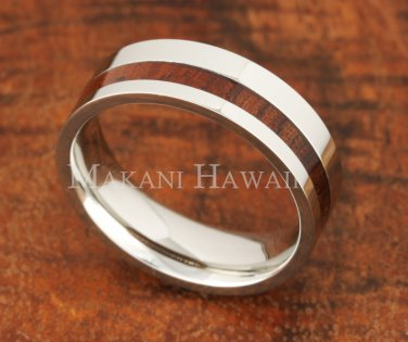 6mm Koa Wood Stainless Steel Wedding Ring
