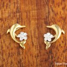 SE32806 Dolphin Plumeria Solid Sterling Silver Earrings Two Tone YG