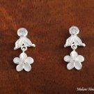 SE54501 Hawaiian Jewelery Solid Silver CZ Leaf Plumeria Earrings