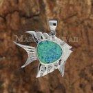 SOP1073 1 Opal CZ Fish Pendant(Chain Sold Separately)