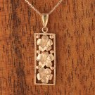 GP3135 Pink Gold Three Plumeria Vertical Pendant 10mm(Chain Sold Separately)