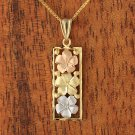 GP3134 Yellow Gold Three Plumeria Vertical Pendant 10mm(Chain Sold Separately)