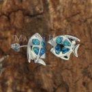 SOE102 Sterling Silver 4 Opal Fish Earrings