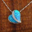 SOP1071 2 Opal CZ Heart Pendant(Chain Sold Separately)