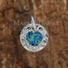 SOP2105 Opal Heart Scroll Round Pendant(Chain Sold Separately)