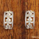 SE28805 Sterling Silver 4 Hawaiian Plumeria Half Moon Earrings Two Tone