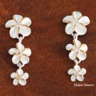 Two-Tone Plumeria with CZ Post Earrings