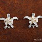 SE23205 8mm Hawaiian Plumeriain-Honu Sterling Silver Earrings Two Tone