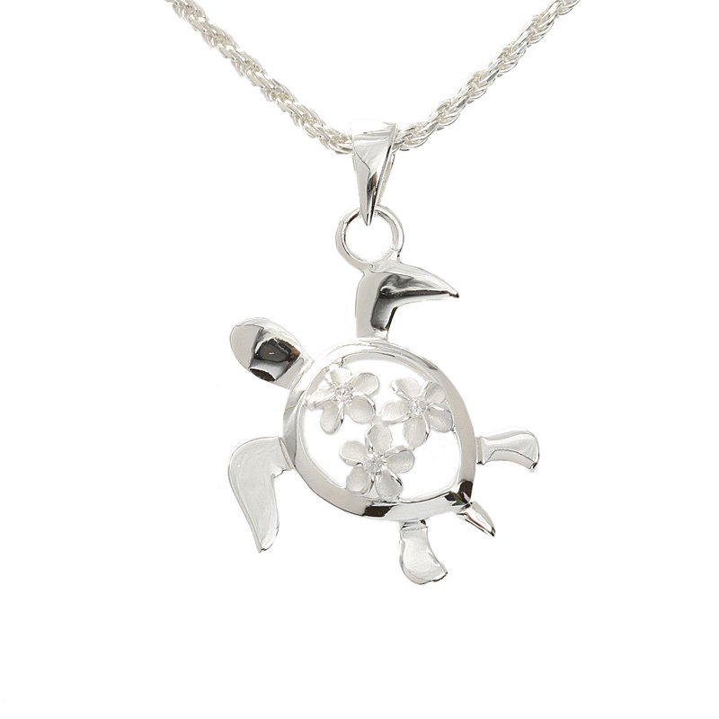 Honu with three Plumeriasl Pendant Necklace(Chain Included)SP80971